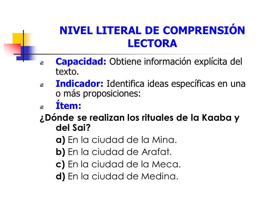 NIVEL LITERAL DE COMPRENSIÓN LECTORA Capacidad: Obtiene información explícita del texto.
