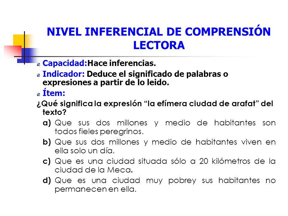 NIVEL INFERENCIAL DE COMPRENSIÓN LECTORA Capacidad:Hace inferencias.