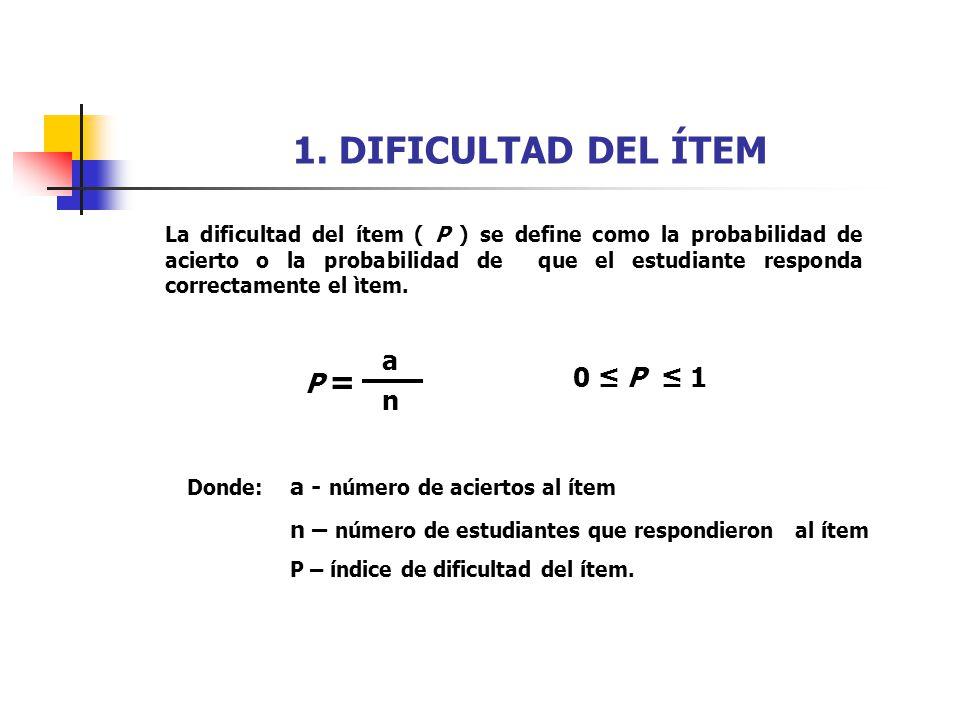 1. DIFICULTAD DEL ÍTEM La dificultad del ítem ( P ) se define como la probabilidad de acierto o la probabilidad de que el estudiante responda correcta
