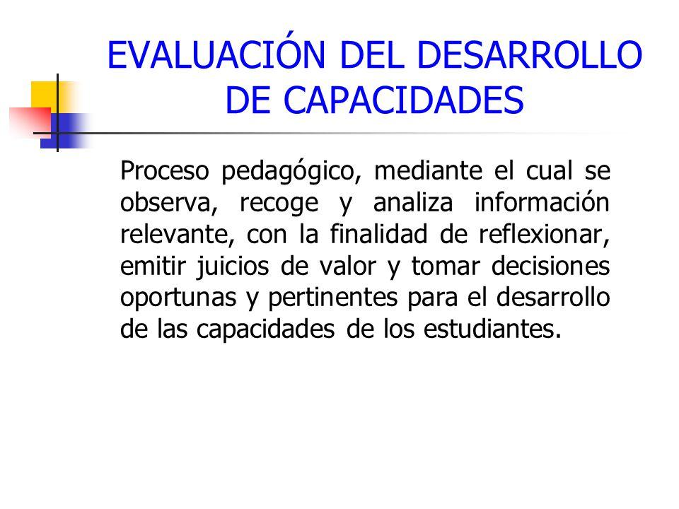 EVALUACIÓN DEL DESARROLLO DE CAPACIDADES Proceso pedagógico, mediante el cual se observa, recoge y analiza información relevante, con la finalidad de reflexionar, emitir juicios de valor y tomar decisiones oportunas y pertinentes para el desarrollo de las capacidades de los estudiantes.