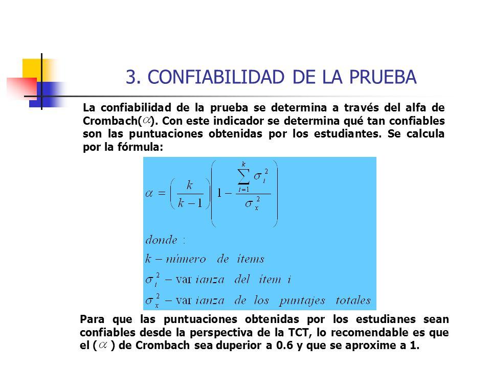 3. CONFIABILIDAD DE LA PRUEBA La confiabilidad de la prueba se determina a través del alfa de Crombach( ). Con este indicador se determina qué tan con
