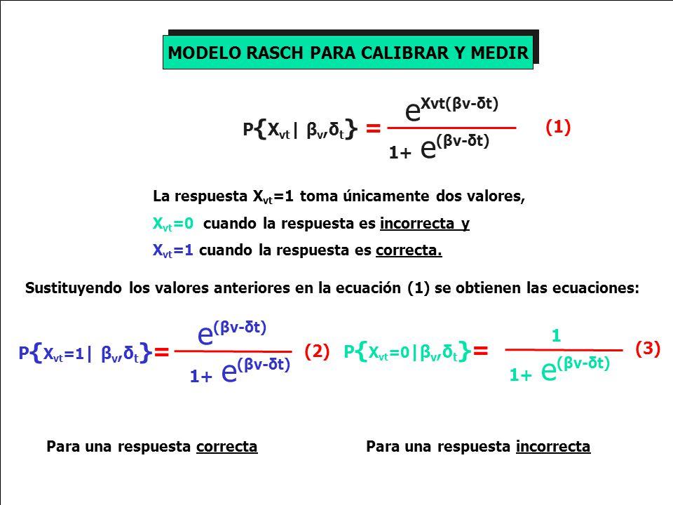 MODELO RASCH PARA CALIBRAR Y MEDIR La respuesta X vt =1 toma únicamente dos valores, X vt =0 cuando la respuesta es incorrecta y X vt =1 cuando la respuesta es correcta.