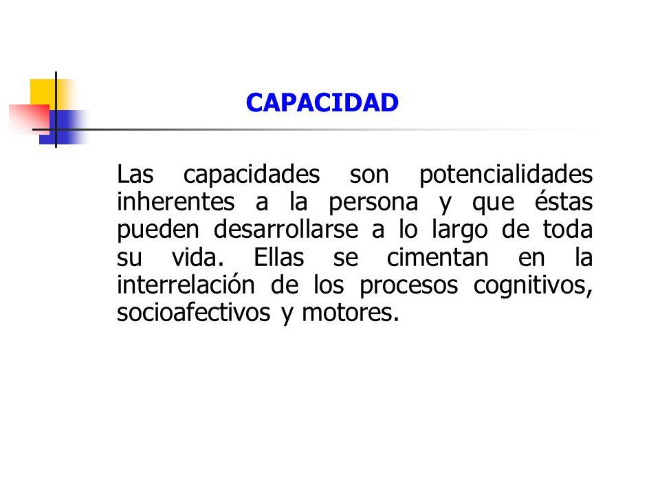 CAPACIDAD Las capacidades son potencialidades inherentes a la persona y que éstas pueden desarrollarse a lo largo de toda su vida.