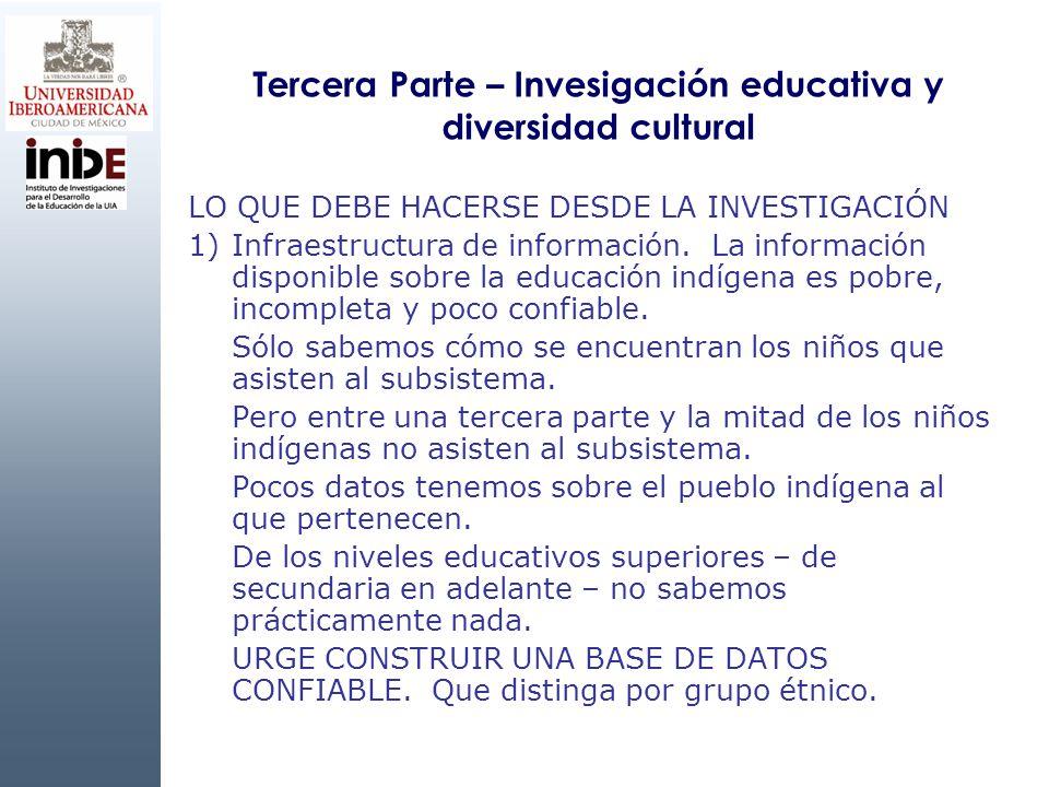 Tercera Parte – Invesigación educativa y diversidad cultural LO QUE DEBE HACERSE DESDE LA INVESTIGACIÓN 1)Infraestructura de información. La informaci