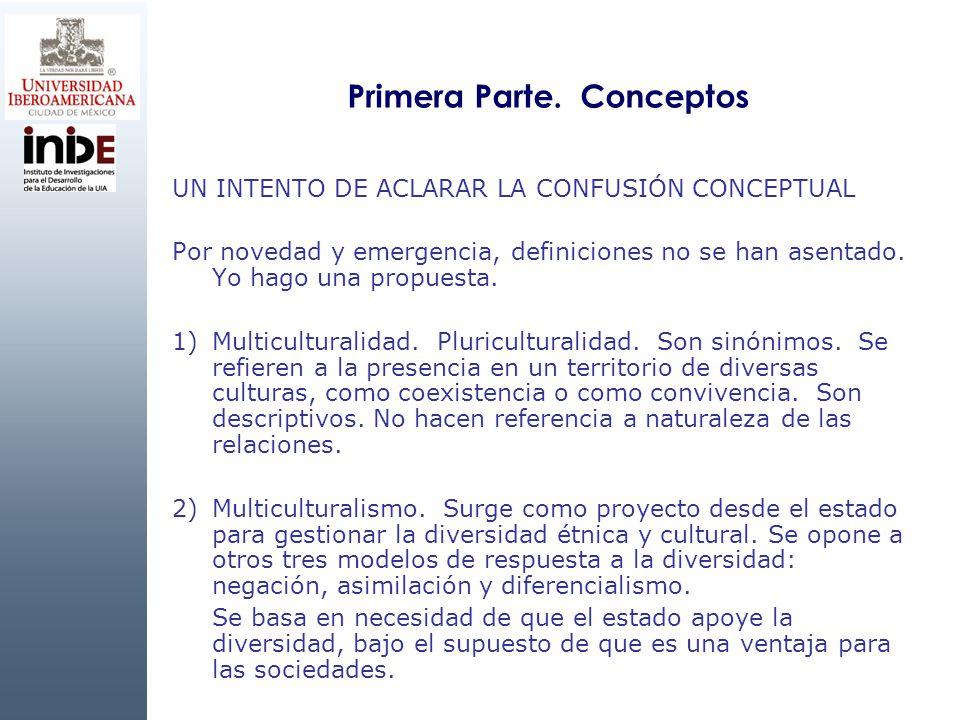 Primera Parte. Conceptos UN INTENTO DE ACLARAR LA CONFUSIÓN CONCEPTUAL Por novedad y emergencia, definiciones no se han asentado. Yo hago una propuest