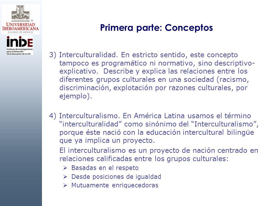 Primera parte: Conceptos 3) Interculturalidad. En estricto sentido, este concepto tampoco es programático ni normativo, sino descriptivo- explicativo.