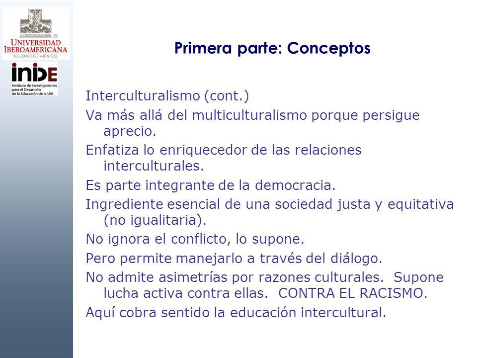 Primera parte: Conceptos Interculturalismo (cont.) Va más allá del multiculturalismo porque persigue aprecio. Enfatiza lo enriquecedor de las relacion