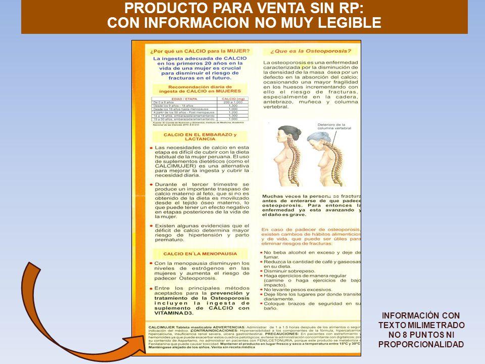 PRODUCTO PARA VENTA SIN RP: CON INFORMACION NO MUY LEGIBLE INFORMACIÓN CON TEXTO MILIMETRADO NO 8 PUNTOS NI PROPORCIONALIDAD