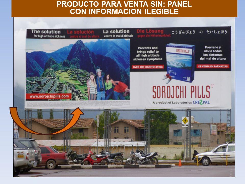PRODUCTO PARA VENTA SIN: PANEL CON INFORMACION ILEGIBLE