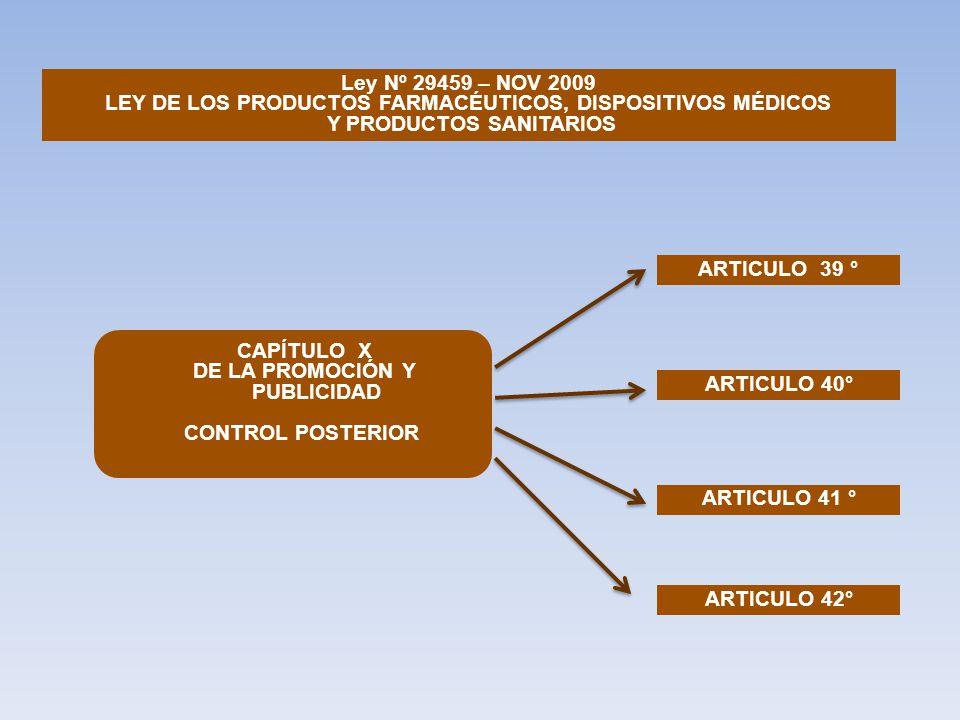Ley Nº 29459 – NOV 2009 LEY DE LOS PRODUCTOS FARMACÉUTICOS, DISPOSITIVOS MÉDICOS Y PRODUCTOS SANITARIOS ARTICULO 39 ° ARTICULO 40° ARTICULO 41 ° ARTICULO 42° CAPÍTULO X DE LA PROMOCIÓN Y PUBLICIDAD CONTROL POSTERIOR