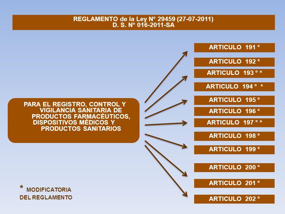 REGLAMENTO de la Ley N° 29459 (27-07-2011) D. S. N° 016-2011-SA ARTICULO 191 ° PARA EL REGISTRO, CONTROL Y VIGILANCIA SANITARIA DE PRODUCTOS FARMACÉUT