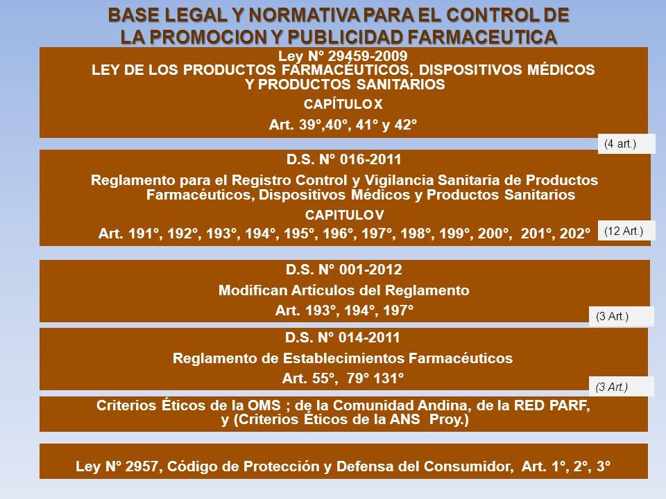 BASE LEGAL Y NORMATIVA PARA EL CONTROL DE LA PROMOCION Y PUBLICIDAD FARMACEUTICA Ley N° 29459-2009 LEY DE LOS PRODUCTOS FARMACÉUTICOS, DISPOSITIVOS MÉ