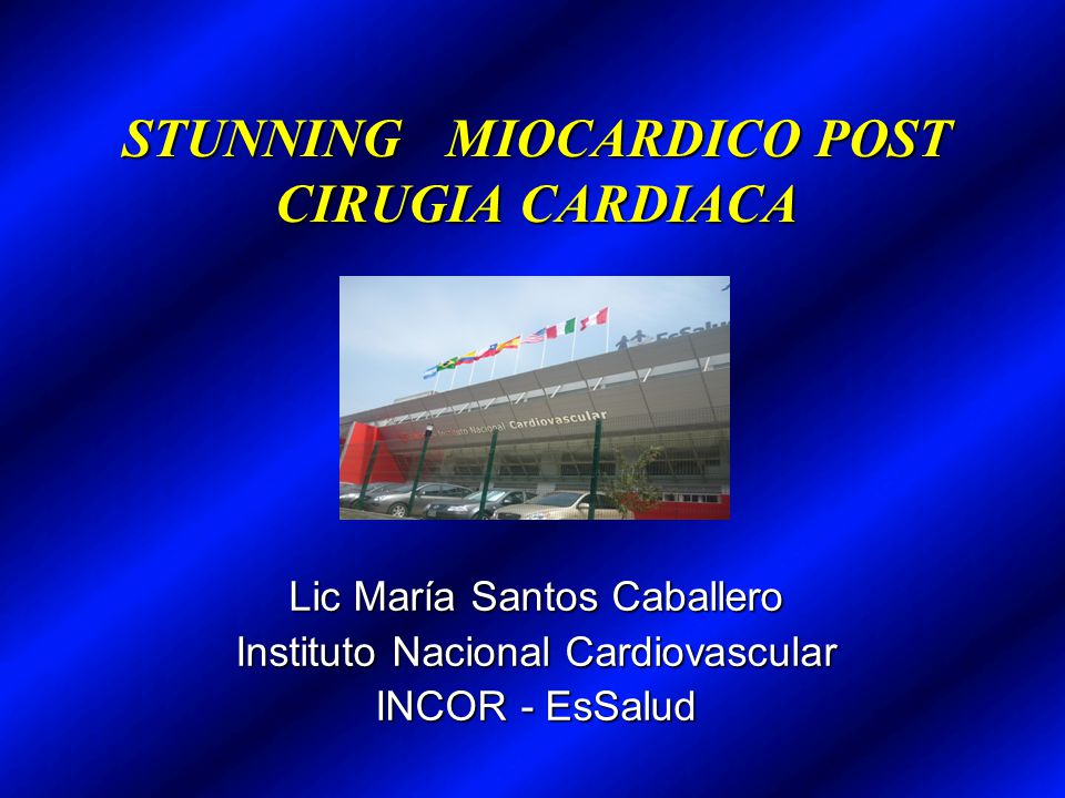 STUNNING MIOCARDICO POST CIRUGIA CARDIACA Lic María Santos Caballero Instituto Nacional Cardiovascular INCOR - EsSalud Lic María Santos Caballero Inst