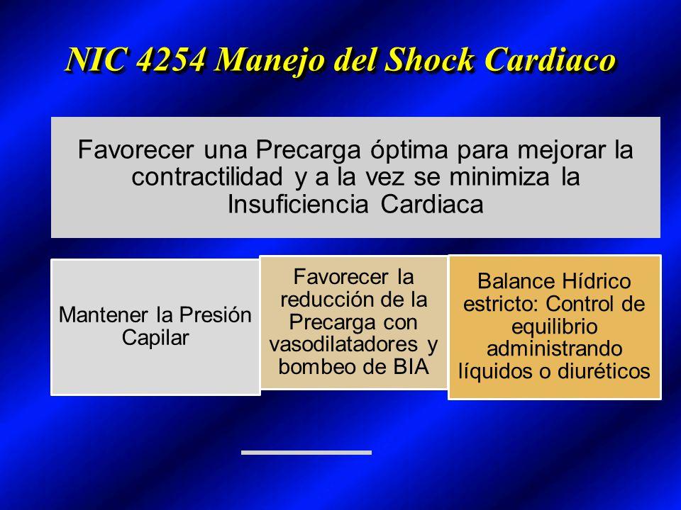 NIC 4254 Manejo del Shock Cardiaco Favorecer una Precarga óptima para mejorar la contractilidad y a la vez se minimiza la Insuficiencia Cardiaca Mante