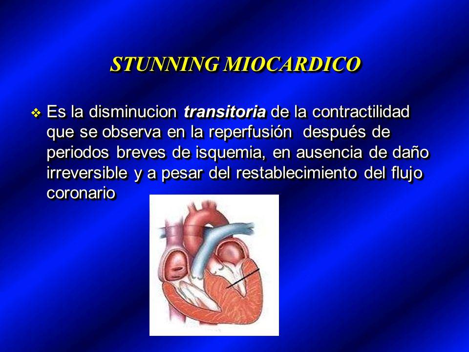 STUNNING MIOCARDICO Es la disminucion transitoria de la contractilidad que se observa en la reperfusión después de periodos breves de isquemia, en aus