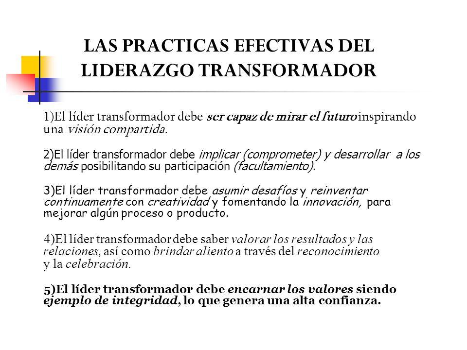 LAS PRACTICAS EFECTIVAS DEL LIDERAZGO TRANSFORMADOR 1)El líder transformador debe ser capaz de mirar el futuro inspirando una visión compartida. 2)El