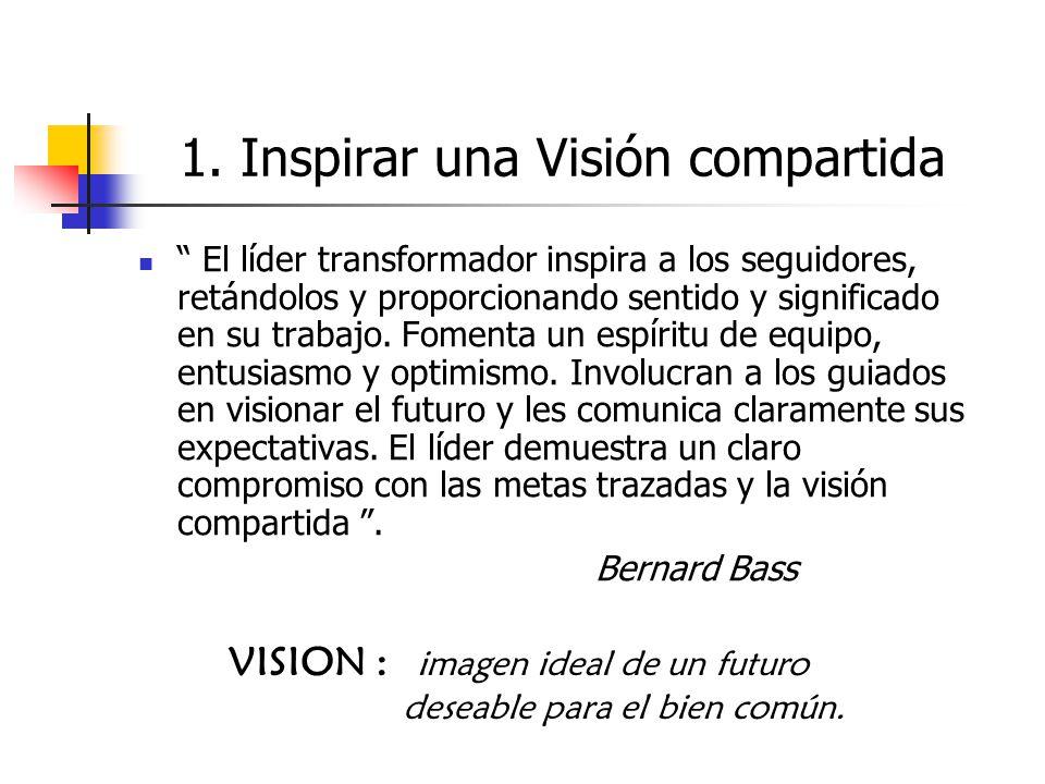 VISION : imagen ideal de un futuro deseable para el bien común. 1. Inspirar una Visión compartida El líder transformador inspira a los seguidores, ret