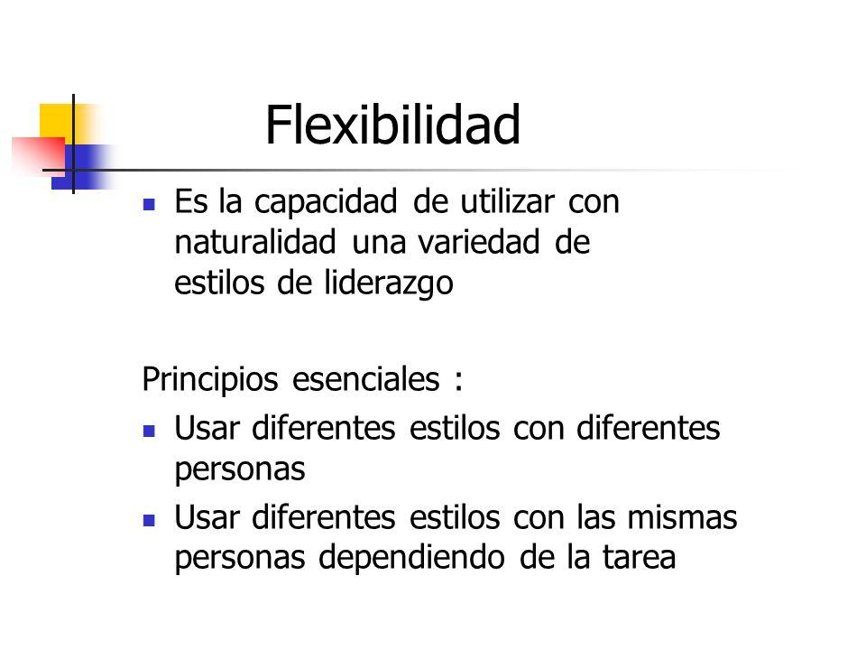 Flexibilidad Es la capacidad de utilizar con naturalidad una variedad de estilos de liderazgo Principios esenciales : Usar diferentes estilos con diferentes personas Usar diferentes estilos con las mismas personas dependiendo de la tarea
