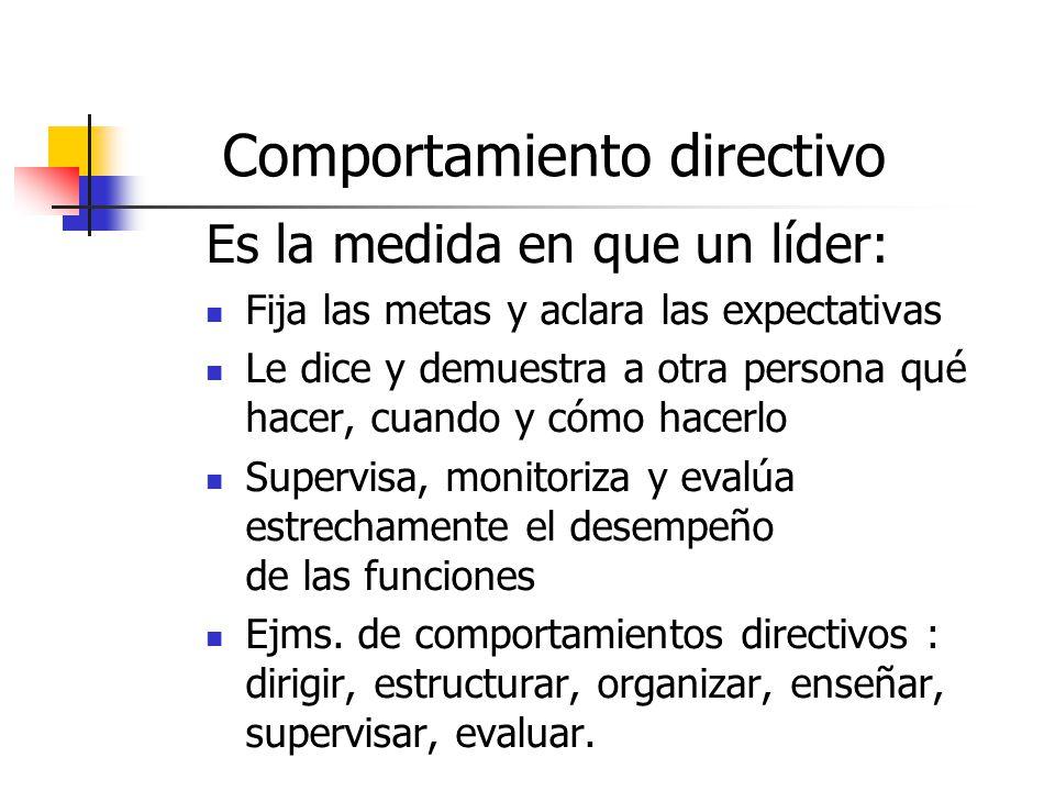 Comportamiento directivo Es la medida en que un líder: Fija las metas y aclara las expectativas Le dice y demuestra a otra persona qué hacer, cuando y cómo hacerlo Supervisa, monitoriza y evalúa estrechamente el desempeño de las funciones Ejms.