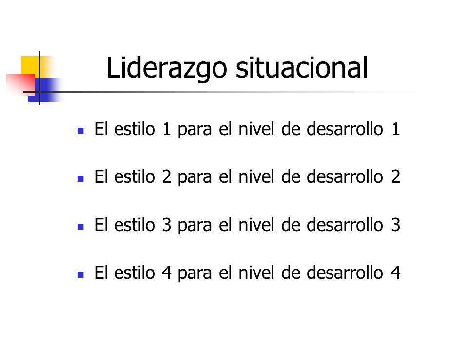 Liderazgo situacional El estilo 1 para el nivel de desarrollo 1 El estilo 2 para el nivel de desarrollo 2 El estilo 3 para el nivel de desarrollo 3 El estilo 4 para el nivel de desarrollo 4