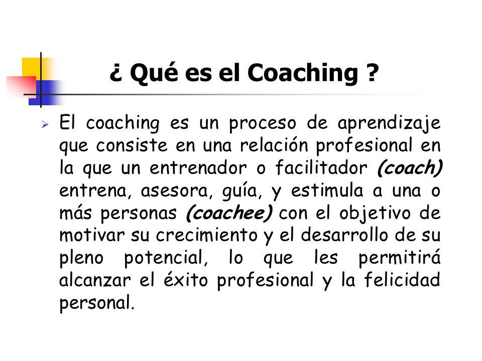 ¿ Qué es el Coaching ? El coaching es un proceso de aprendizaje que consiste en una relación profesional en la que un entrenador o facilitador (coach)