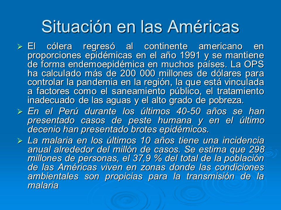 Situación en las Américas El cólera regresó al continente americano en proporciones epidémicas en el año 1991 y se mantiene de forma endemoepidémica e