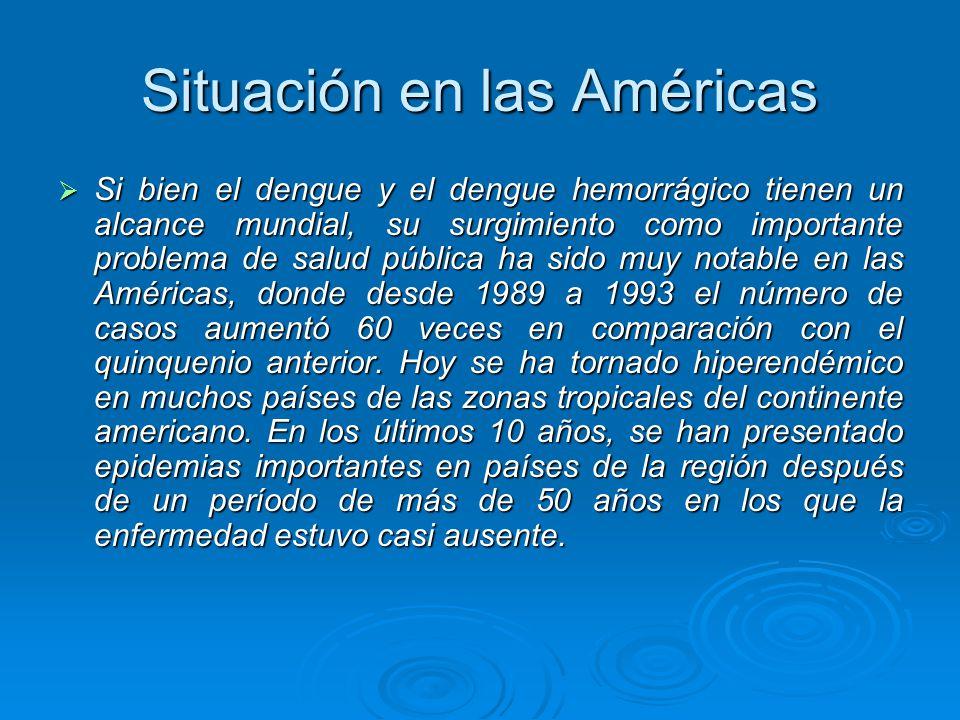 Situación en las Américas Si bien el dengue y el dengue hemorrágico tienen un alcance mundial, su surgimiento como importante problema de salud públic