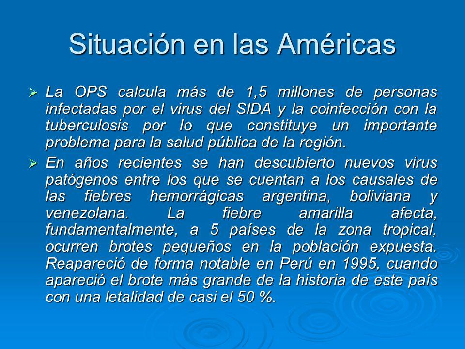 Situación en las Américas La OPS calcula más de 1,5 millones de personas infectadas por el virus del SIDA y la coinfección con la tuberculosis por lo