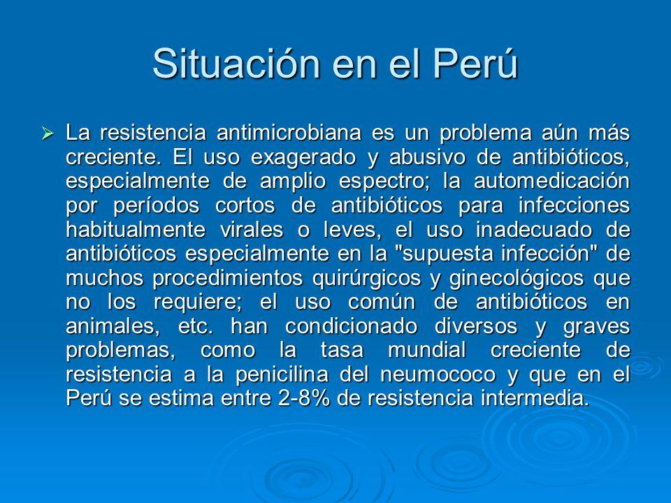 Situación en el Perú La resistencia antimicrobiana es un problema aún más creciente. El uso exagerado y abusivo de antibióticos, especialmente de ampl