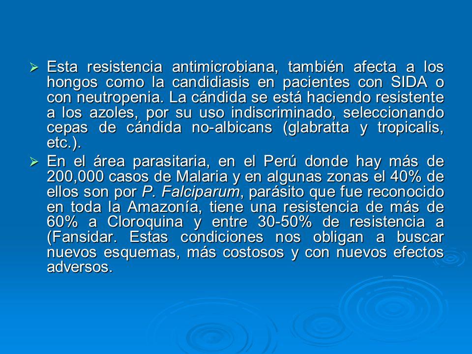 Esta resistencia antimicrobiana, también afecta a los hongos como la candidiasis en pacientes con SIDA o con neutropenia. La cándida se está haciendo