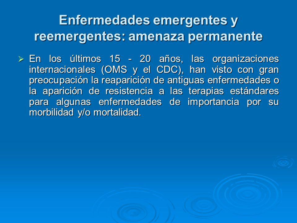 Enfermedades emergentes y reemergentes: amenaza permanente En los últimos 15 - 20 años, las organizaciones internacionales (OMS y el CDC), han visto c