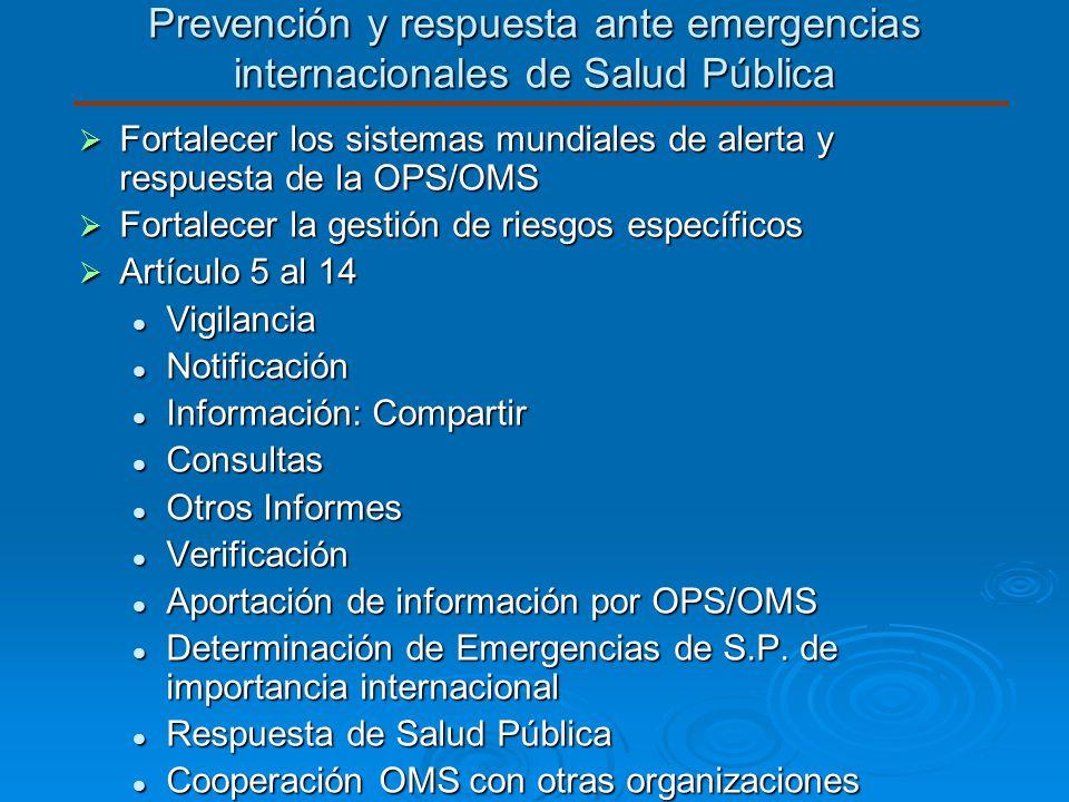 Prevención y respuesta ante emergencias internacionales de Salud Pública Fortalecer los sistemas mundiales de alerta y respuesta de la OPS/OMS Fortale