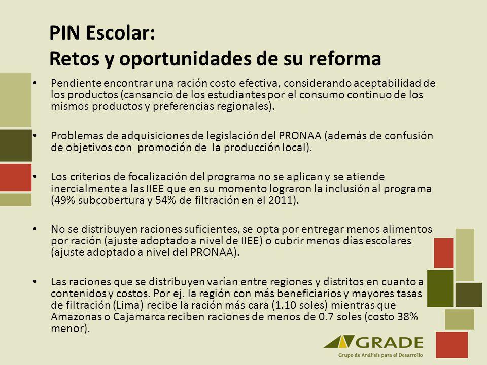 PIN Escolar: Retos y oportunidades de su reforma Pendiente encontrar una ración costo efectiva, considerando aceptabilidad de los productos (cansancio