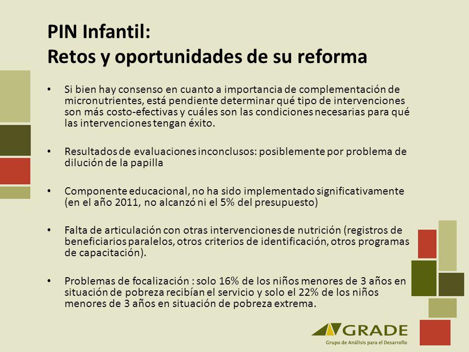 PIN Infantil: Retos y oportunidades de su reforma Si bien hay consenso en cuanto a importancia de complementación de micronutrientes, está pendiente d