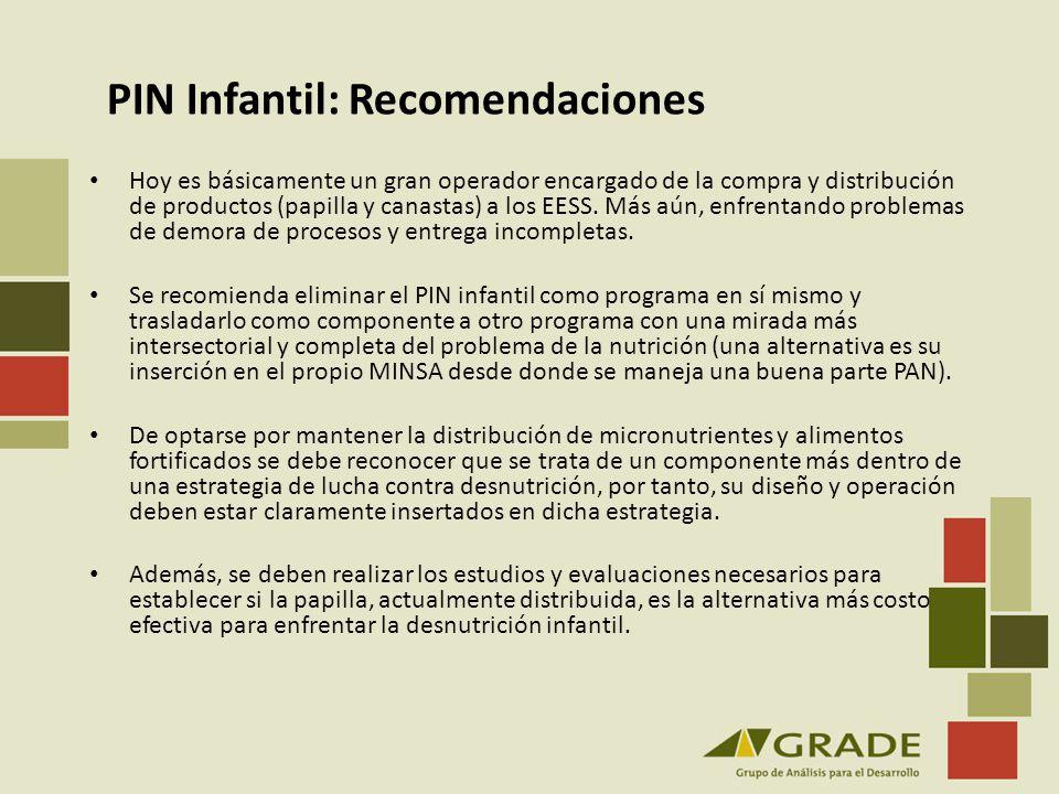PIN Infantil: Recomendaciones Hoy es básicamente un gran operador encargado de la compra y distribución de productos (papilla y canastas) a los EESS.