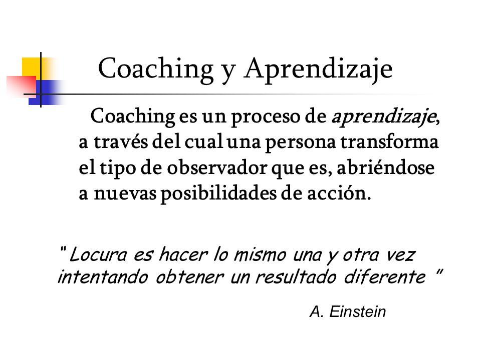 Coaching y Aprendizaje Coaching es un proceso de aprendizaje, a través del cual una persona transforma el tipo de observador que es, abriéndose a nuevas posibilidades de acción.