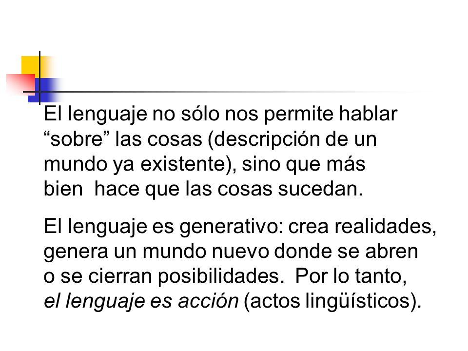 El lenguaje no sólo nos permite hablar sobre las cosas (descripción de un mundo ya existente), sino que más bien hace que las cosas sucedan.