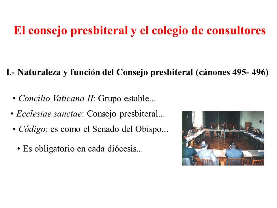 El consejo presbiteral y el colegio de consultores I.- Naturaleza y función del Consejo presbiteral (cánones 495- 496) Concilio Vaticano II: Grupo est