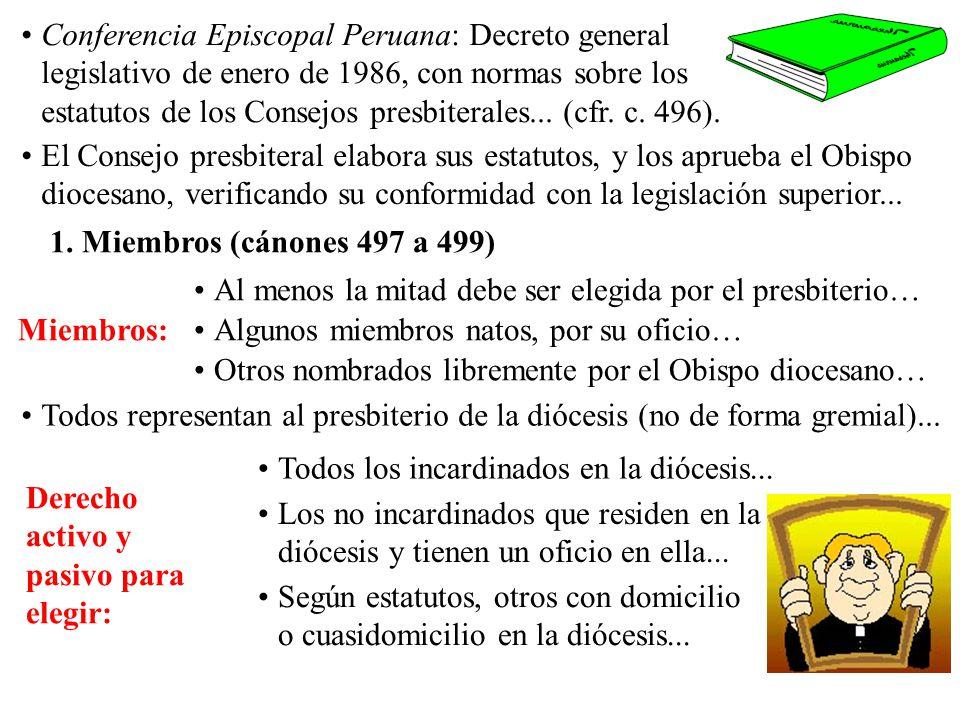 Conferencia Episcopal Peruana: Decreto general legislativo de enero de 1986, con normas sobre los estatutos de los Consejos presbiterales... (cfr. c.