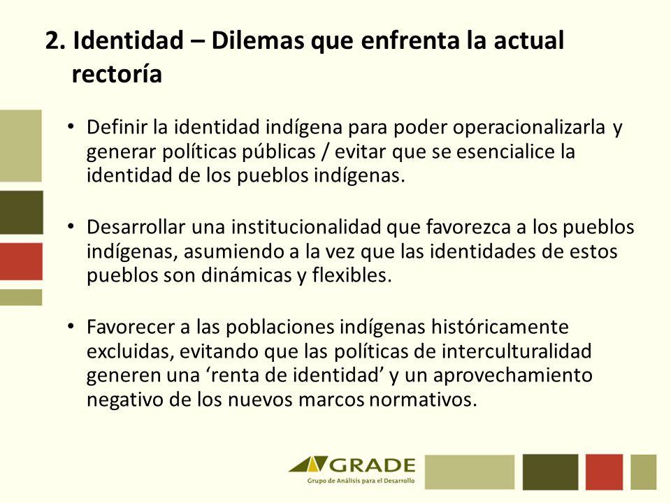 Definir la identidad indígena para poder operacionalizarla y generar políticas públicas / evitar que se esencialice la identidad de los pueblos indígenas.