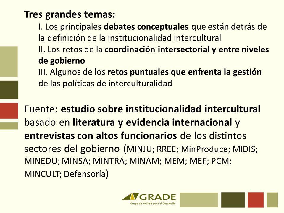Tres grandes temas: I. Los principales debates conceptuales que están detrás de la definición de la institucionalidad intercultural II. Los retos de l