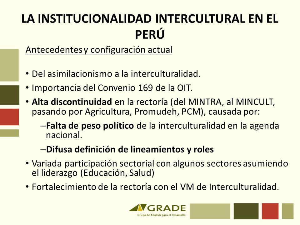 LA INSTITUCIONALIDAD INTERCULTURAL EN EL PERÚ Antecedentes y configuración actual Del asimilacionismo a la interculturalidad. Importancia del Convenio