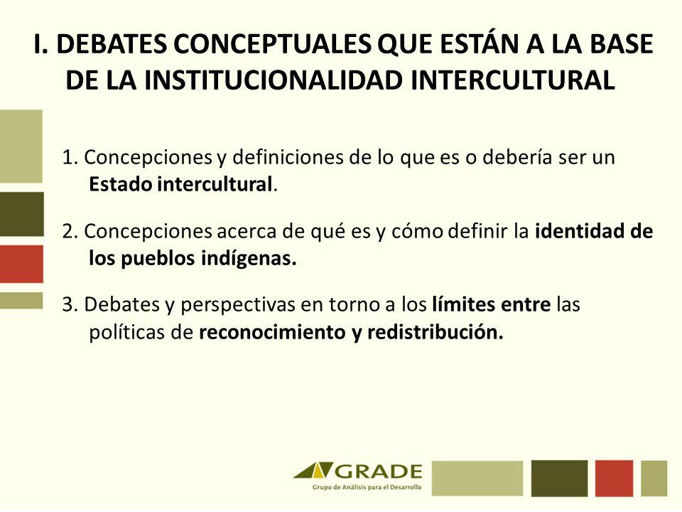 I.DEBATES CONCEPTUALES QUE ESTÁN A LA BASE DE LA INSTITUCIONALIDAD INTERCULTURAL 1.