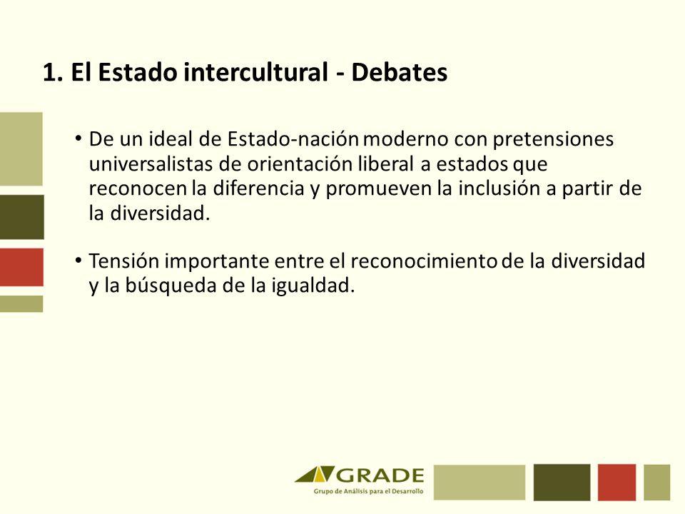 1. El Estado intercultural - Debates De un ideal de Estado-nación moderno con pretensiones universalistas de orientación liberal a estados que reconoc