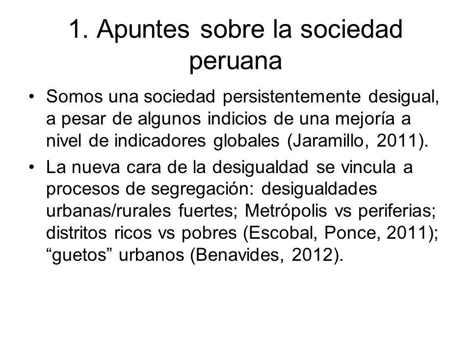 1. Apuntes sobre la sociedad peruana Somos una sociedad persistentemente desigual, a pesar de algunos indicios de una mejoría a nivel de indicadores g