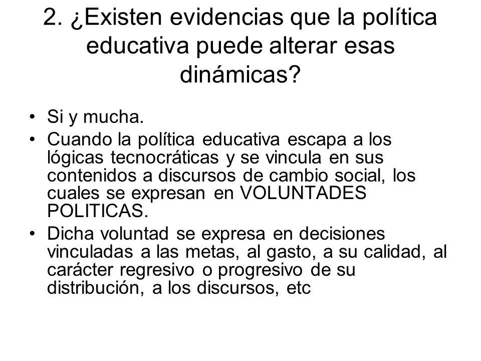 2. ¿Existen evidencias que la política educativa puede alterar esas dinámicas.