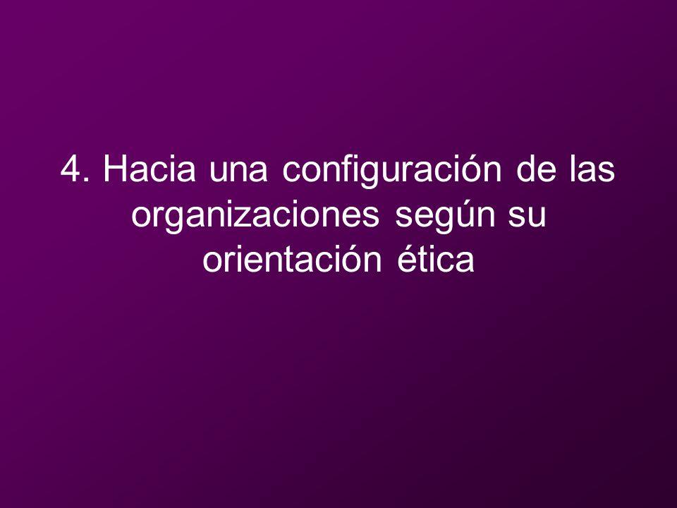 4. Hacia una configuración de las organizaciones según su orientación ética