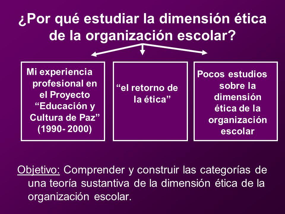 El hilo conductor de la investigación consiste en responder a tres preguntas: –¿qué caracteriza a la dimensión ética de la organización escolar.