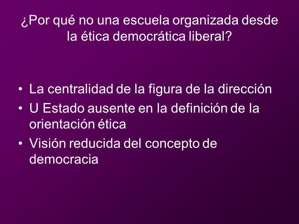 ¿Por qué no una escuela organizada desde la ética democrática liberal? La centralidad de la figura de la dirección U Estado ausente en la definición d