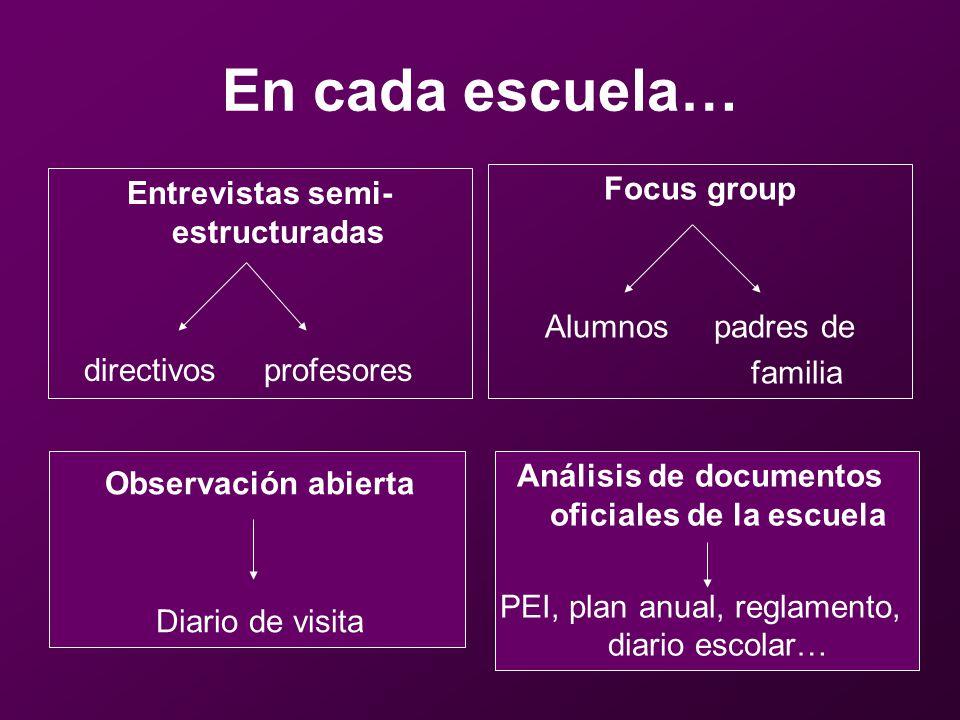 Número de informantes por caso InformanteCaso 1Caso 2Caso 3 Directivos333 Profesores13 12 Auxiliares220 Alumnos494841 Padres de familia 332123